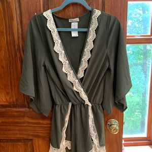 Wet Seal Romper NWT Green With Lace Edge S